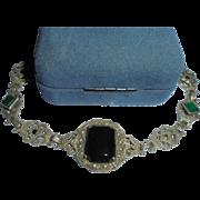 Art Deco Chrysoprase Sterling Onyx Marcasite Bracelet