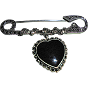 Vintage Sterling Silver Safety Pin Heart Motiff Onyx Marcasite Brooch