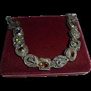 Sterling Silver Gemstone Sliding Charm Bracelet Vintage