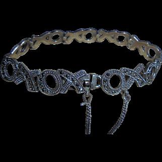 """Sterling Kisses & Hugs """"XO"""" Themed Link Marcasite Bracelet"""