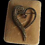Vintage Amethyst 925 Sterling Silver Marcasite Heart Brooch