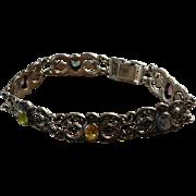 Gemstone Sterling Silver Reticulated Link Bracelet 925