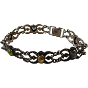 Gemstone Sterling Silver Reticulated Link Bracelet 925