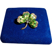 14K Genuine Diamond Victorian Guilloche Enamel Four Leaf Clover Shamroch Brooch Pendant
