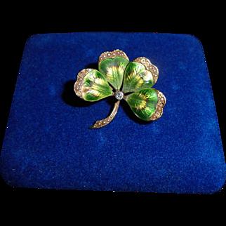 14K Genuine Diamond Victorian Guilloche Enamel Four Leaf Clover Shamroch Brooch Pendant