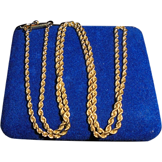 """14K Yellow Gold Mid-Century Rope Chain Necklace 18"""""""