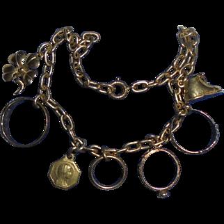 Antique 14K Gold Charm Bracelet Diamond Rings Baby Shoe St Ann Four Leaf Clover