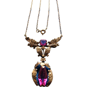 18K Gold Edwardian Ruby Hand Crafted Antique Necklace c1900