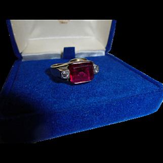 14K Ruby Diamond Art Deco Era Size 8 3/4 Gents Ring Men's