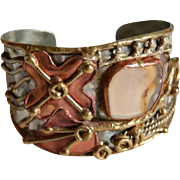 Gorgeous Brutalist Hand Forged Cuff Bracelet with Inlaid Glass