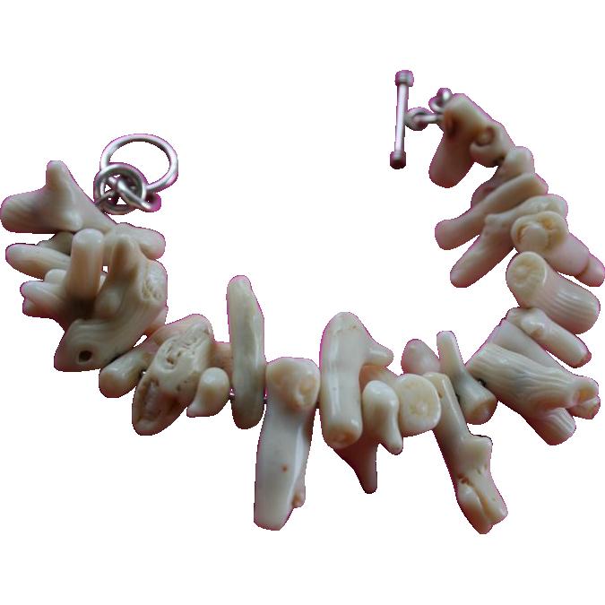 White Branch Coral Sterling Silver Chunky Bracelet Toggle Clasp Random Harvest Ruby Lane