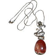 Art Nouveau Style 925 Sterling Stone Pendant Necklace