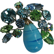 Dazzling Regency Pastel AB Blue & Peridot Green Art Glass & Rhinestone Brooch