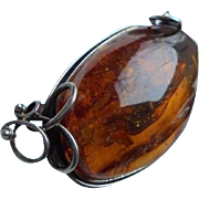 "Giant 3""1/2 inch  50 Gram Baltic Amber Sterling Silver Brooch"