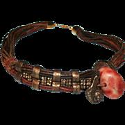 Brutalist / Modernist Metal Leather Stone Collar Necklace