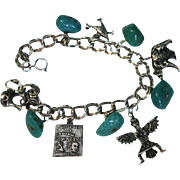 New Mexico Double Link Sterling Silver Turquoise Southwest Native American Theme Charm Bracelet