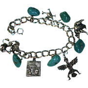 Sterling New Mexico Double Link Silver Turquoise Charm Bracelet