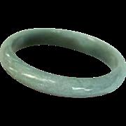 Mid-Century Celadon Jade Bangle Bracelet