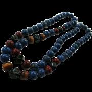 Genuine Lapis Lazuli ~ Tiger Eye ~ Onyx ~ Red Turquoise Necklace