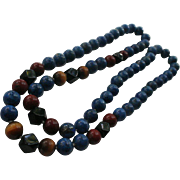 Genuine Lapis Lazuli ~ Tiger Eye ~ Onyx ~ Red Turquoise Necklace