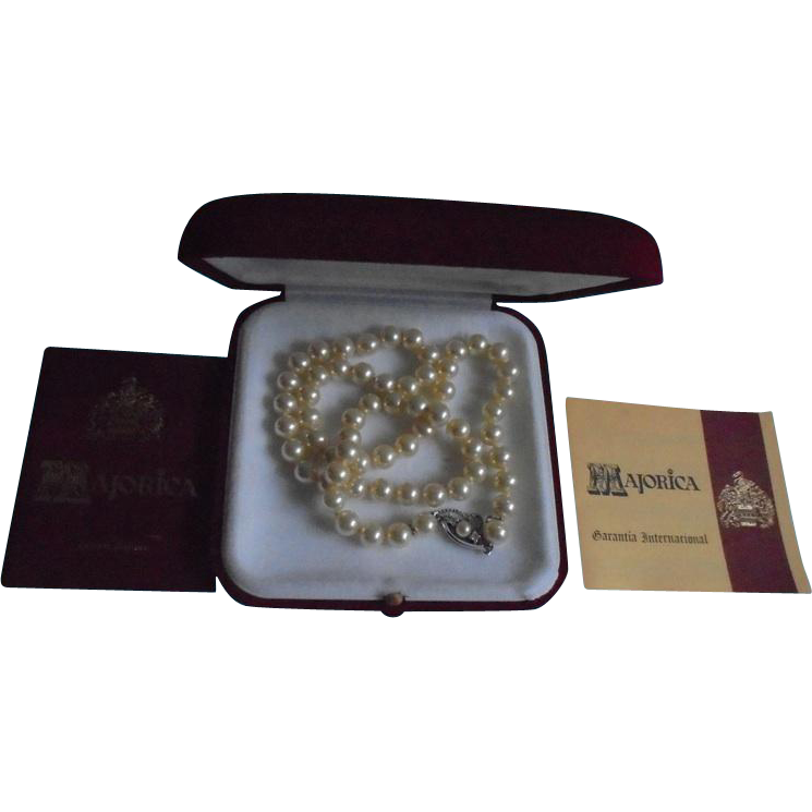 Majorica Vintage New In Box With Papers Cultured Pearl Necklace From Randomharvest On Ruby Lane
