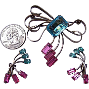 Sterling Silver 1940's Aquamarine Austrian Crystal Brooch Set