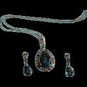 14K Gold London Blue Topaz Gemstone Pendant Necklace & Earrings Set