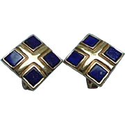 Lapis Lazuli Gold-Plated Elizabeth Koller Austria Clip Earrings