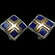 Lapis Lazuli Gold-Plated Elizabeth Koller Austria Clip Earrings