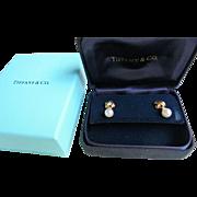 TIFFANY 18K Gold Diamond Cultured Pearl Signature X Earrings