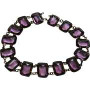 Superb Antique Amethyst Glass Faceted Choker Necklace