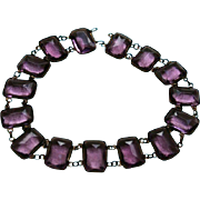 Exquisite Antique Amethyst Glass Faceted Choker Necklace