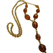 Antique Czech Amber Glass Lavalier Necklace