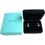 Authentic TIFFANY 18K Gold Diamond Cultured Pearl Signature X Earrings