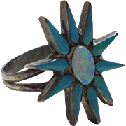 Vintage 925 Fiey Opal & Turquoise Figural Flower Ring Size 5 1/2