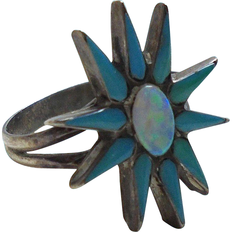 Vintage 925 Fiey Opal Turquoise Figural Flower Ring Size 5 1 2 From Randomharvest On Ruby Lane
