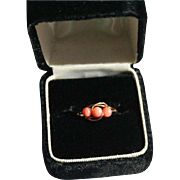 14K Gold Genuine Coral Cocktail Ring Size 7