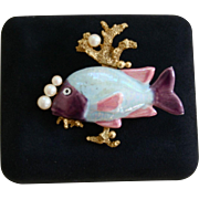 Fabulous Vintage Fish Coral Reef Faux Pearl Brooch
