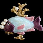 Fabulous Vintage Fish Coral Reef Faux Pearl Brooch