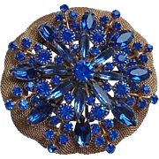 Huge Unsigned Hobe Royal Blue Rhinestone Mesh Brooch