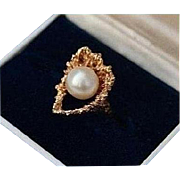 14K Brutalist Reef with Cultured Pearl Solid Yellow Gold Ring Size 5.5