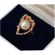 14K Modernist Mid-Century Cultured Pearl Solid Yellow Gold Ring Size 5.5