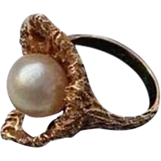 14K Mid-Century Heart Cultured Pearl Solid Yellow Gold Ring Size 5.5