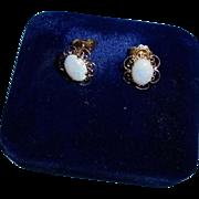 14K Fiery Opal Pierced Earrings
