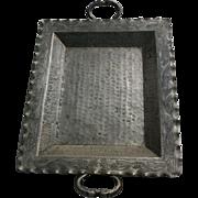 Kissing Snake Heads Handled Arts & Crafts Nickel-Silver Bolivian Serving Tray Platter