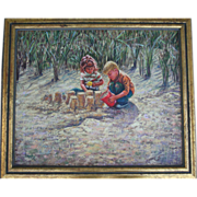 William A. Drake (1891 - 1964) Oil Painting Children Building Sandcastles