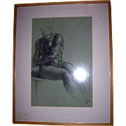 Listed Artist Richard Combes ROI Original 1993 Michaelangelo Nude Study Charcoal on Paper