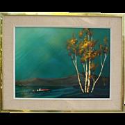 Vintage Enamel Painting White Birch Trees Blue Sky Signed R Bennett