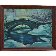 "1949 Central Park NYC Winter ""Moonlight Sonata"" Oil Painting by Tenor -Joaquin Queveda Pacheco New York City"