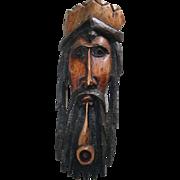 Large Carved Wood Sculpture Folk Art Rastafarian Jamaica African Bob Marley VTG